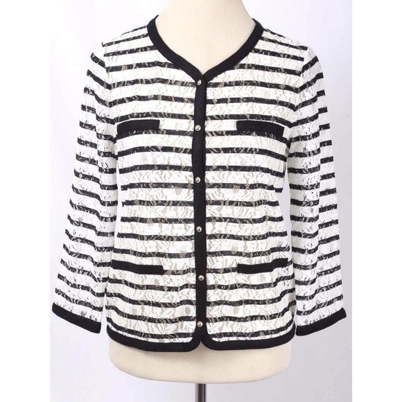 bb00a64293 Ann Taylor White   Navy Striped Lace Cardigan NWT